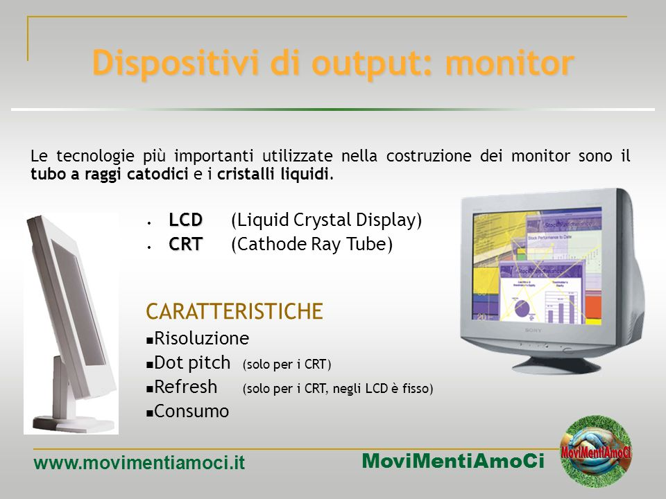 Dispositivi di output: monitor