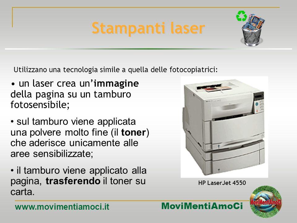 Stampanti laser Utilizzano una tecnologia simile a quella delle fotocopiatrici: un laser crea un'immagine della pagina su un tamburo fotosensibile;