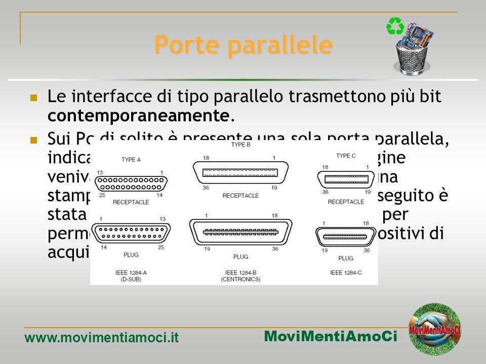 Porte parallele Le interfacce di tipo parallelo trasmettono più bit contemporaneamente.