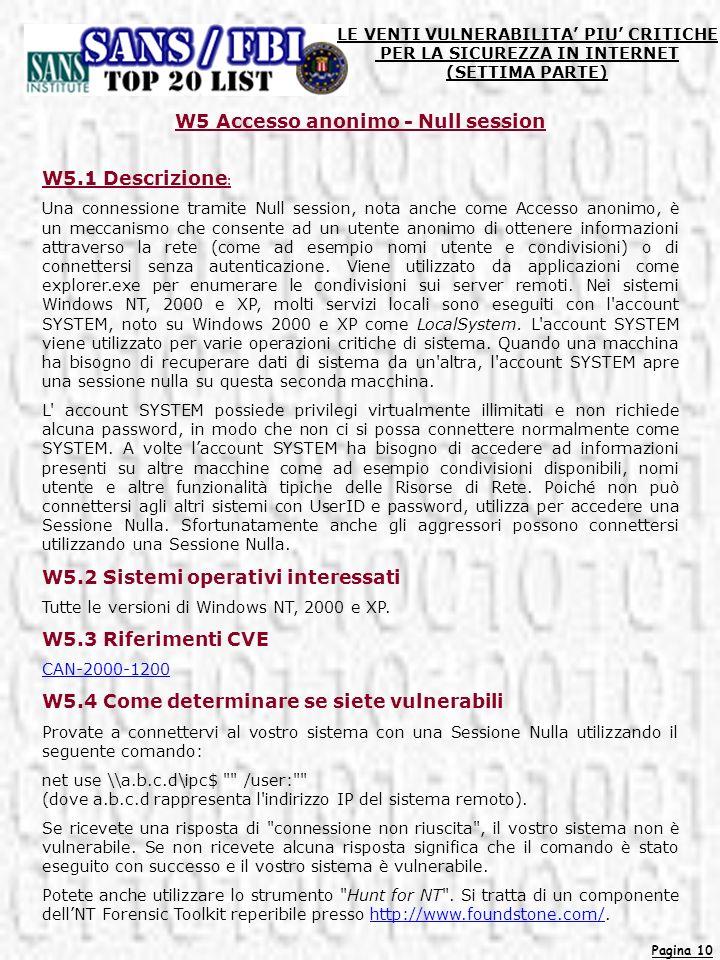 W5 Accesso anonimo - Null session