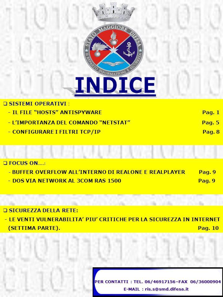INDICE - L'IMPORTANZA DEL COMANDO NETSTAT Pag. 5 SISTEMI OPERATIVI :