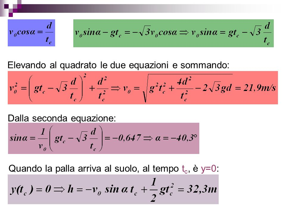 Elevando al quadrato le due equazioni e sommando: