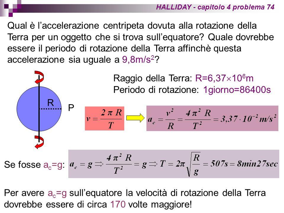 Raggio della Terra: R=6,37106m Periodo di rotazione: 1giorno=86400s