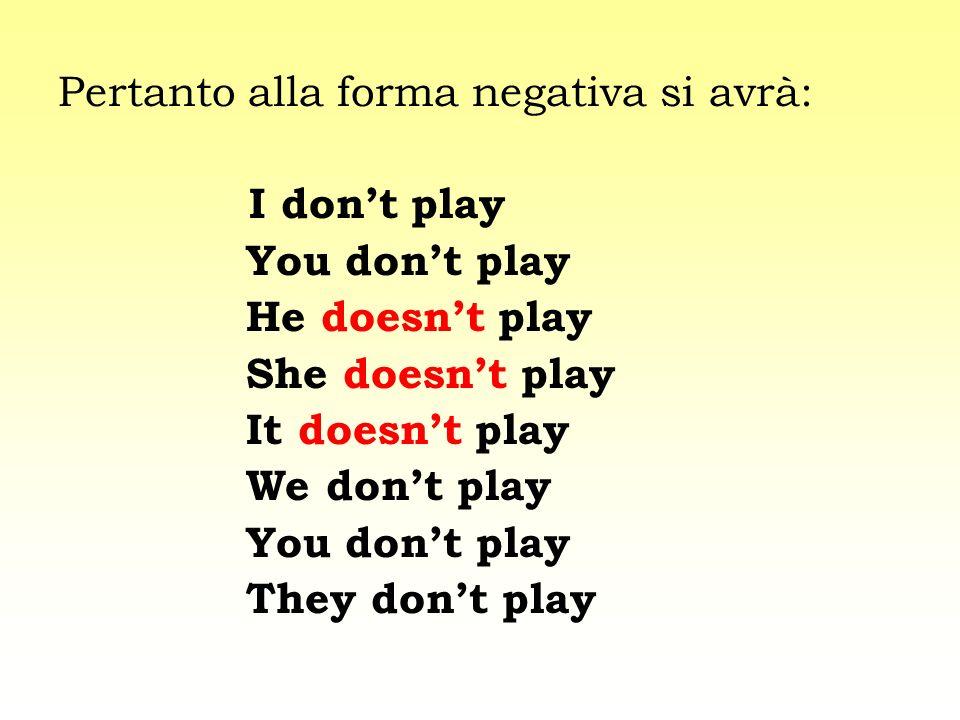 Pertanto alla forma negativa si avrà: