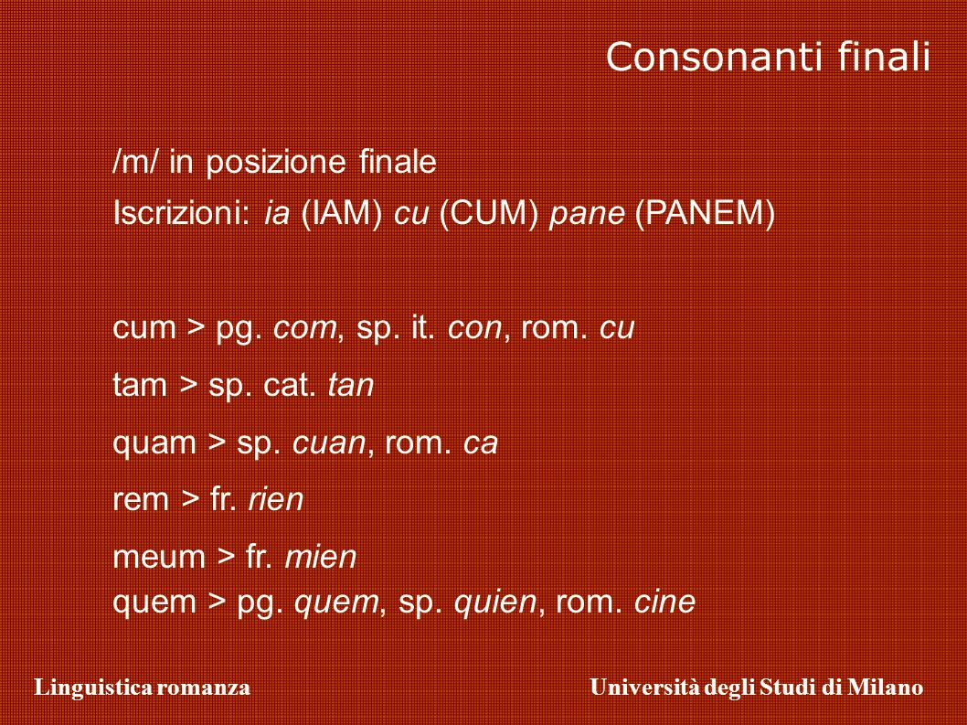 Consonanti finali /m/ in posizione finale