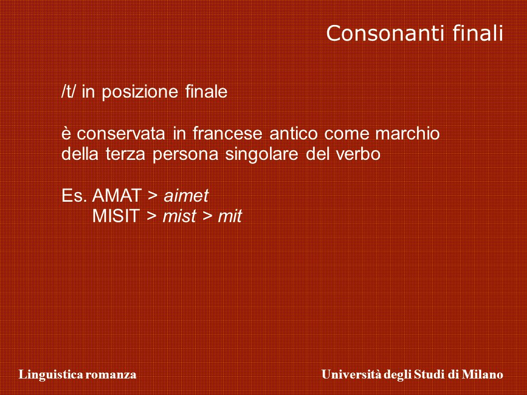 Consonanti finali /t/ in posizione finale