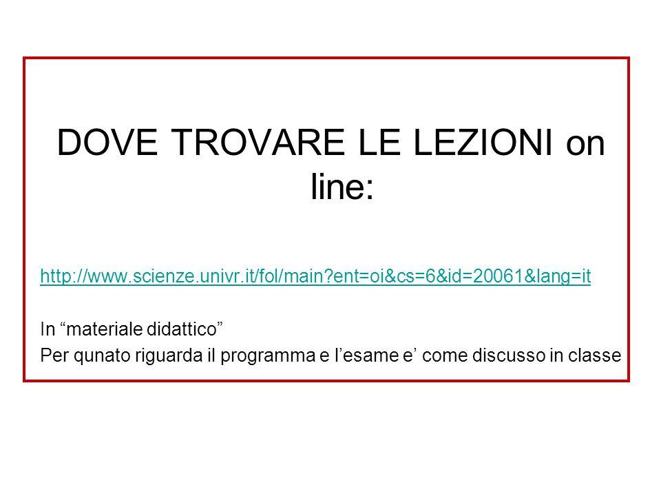 DOVE TROVARE LE LEZIONI on line: