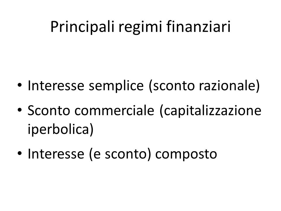 Principali regimi finanziari