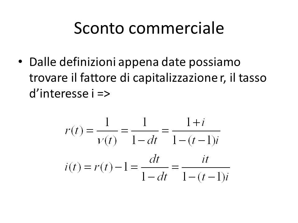 Sconto commerciale Dalle definizioni appena date possiamo trovare il fattore di capitalizzazione r, il tasso d'interesse i =>