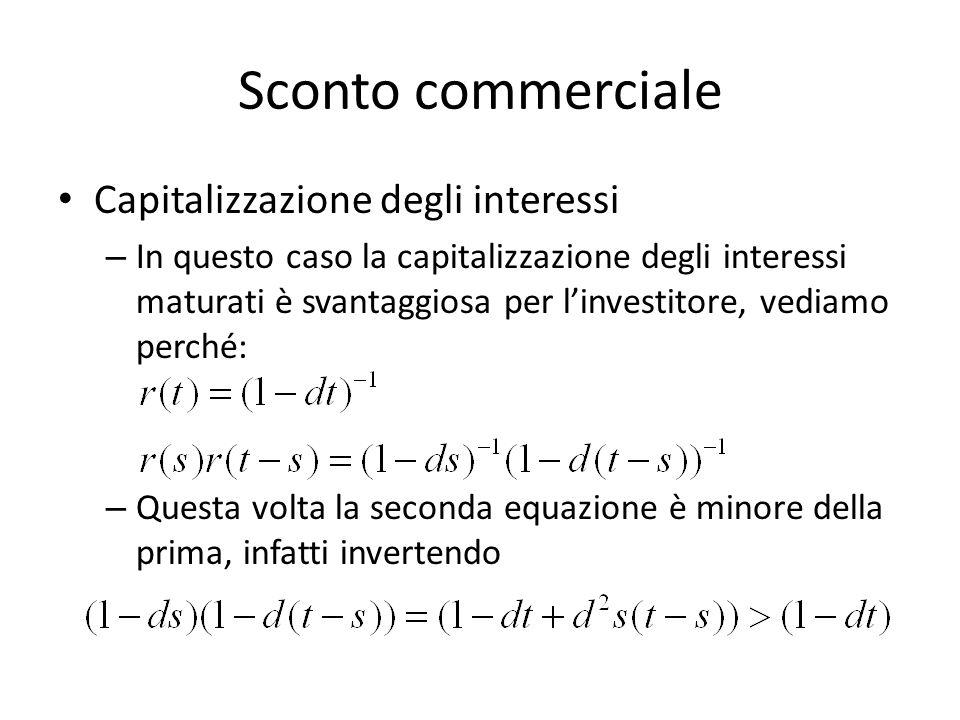 Sconto commerciale Capitalizzazione degli interessi