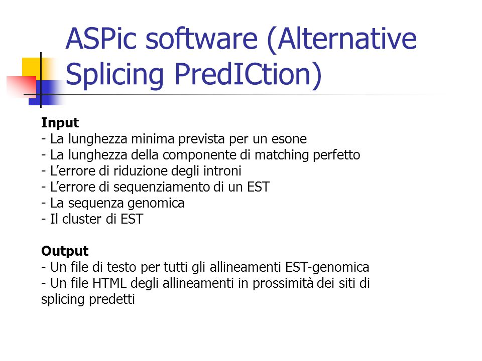 ASPic software (Alternative Splicing PredICtion)