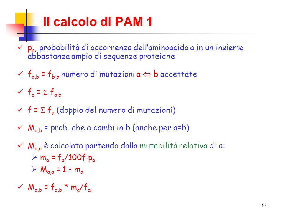 Il calcolo di PAM 1pa, probabilità di occorrenza dell'aminoacido a in un insieme abbastanza ampio di sequenze proteiche.