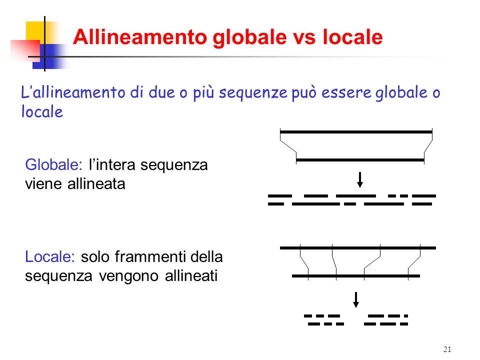 Allineamento globale vs locale