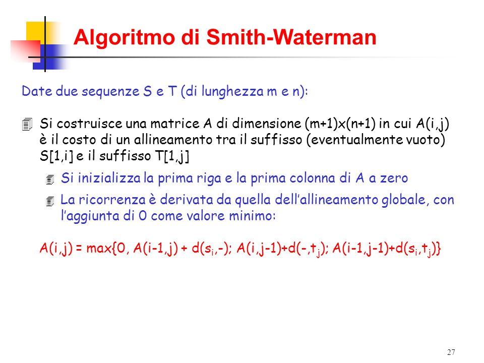 Algoritmo di Smith-Waterman