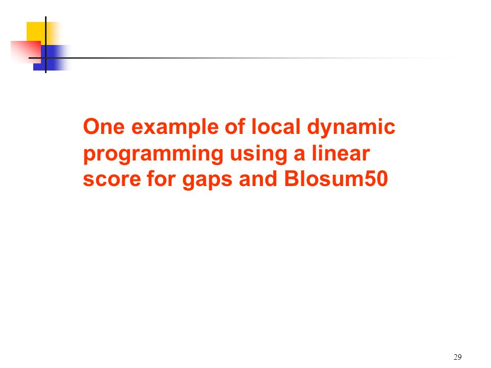 One example of local dynamic programming using a linear score for gaps and Blosum50