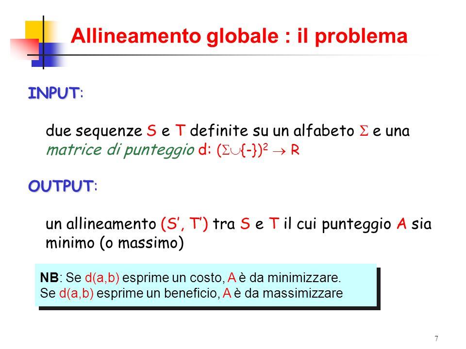 Allineamento globale : il problema