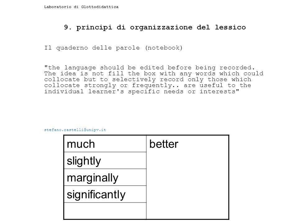 9. principi di organizzazione del lessico
