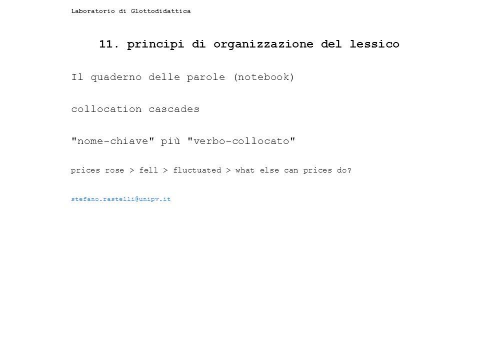 11. principi di organizzazione del lessico