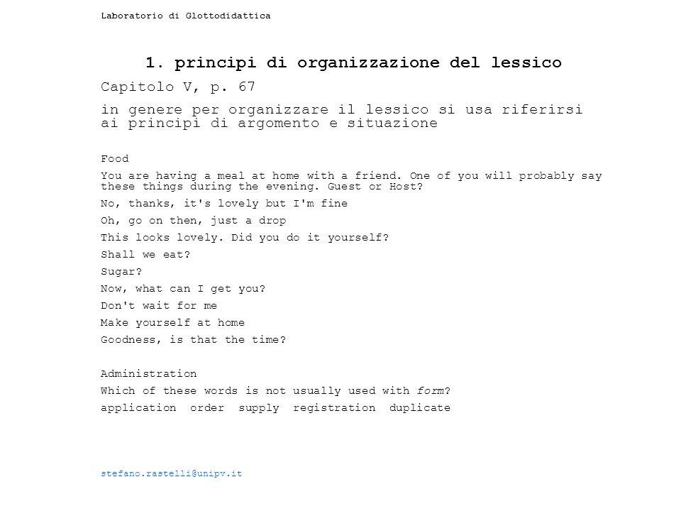 1. principi di organizzazione del lessico