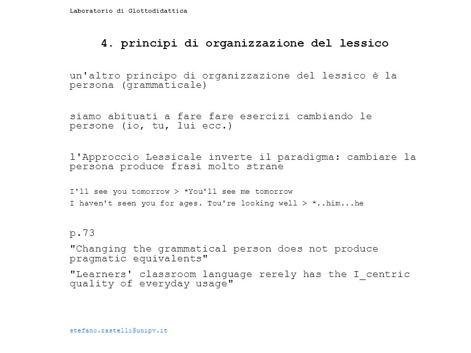 4. principi di organizzazione del lessico