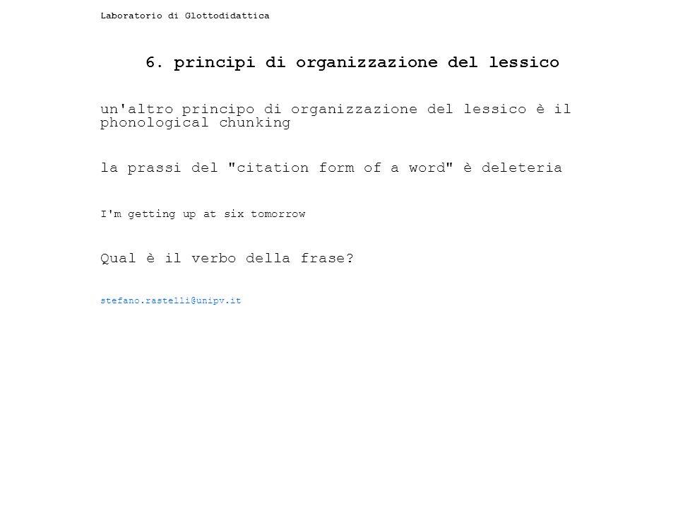 6. principi di organizzazione del lessico