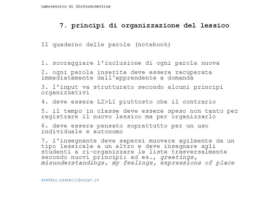 7. principi di organizzazione del lessico
