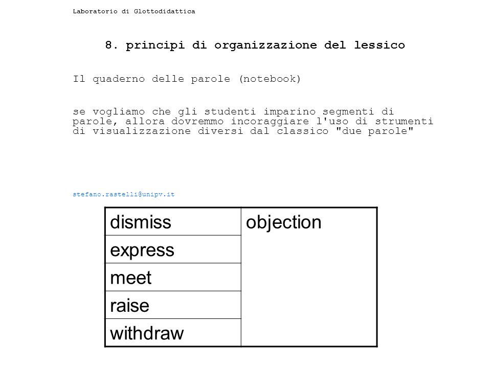 8. principi di organizzazione del lessico