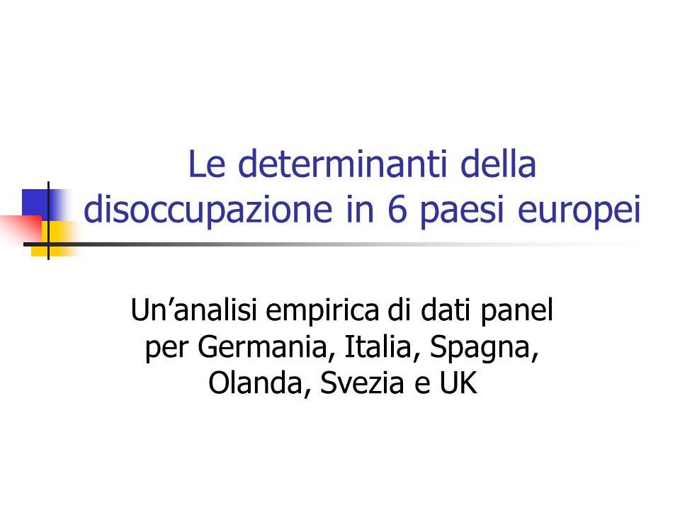 Le determinanti della disoccupazione in 6 paesi europei
