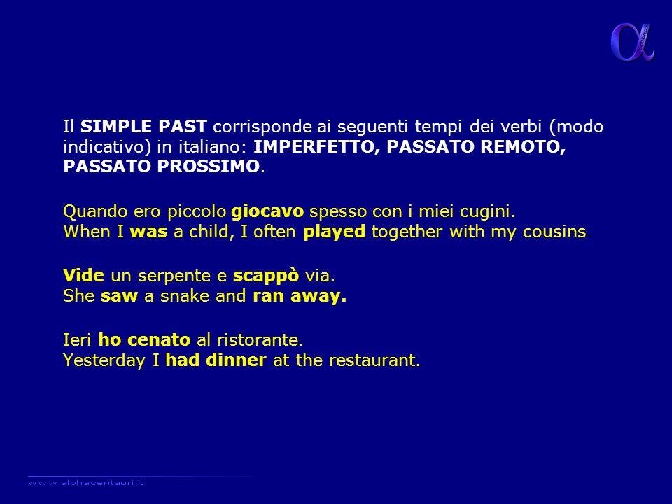 Il SIMPLE PAST corrisponde ai seguenti tempi dei verbi (modo indicativo) in italiano: IMPERFETTO, PASSATO REMOTO, PASSATO PROSSIMO.