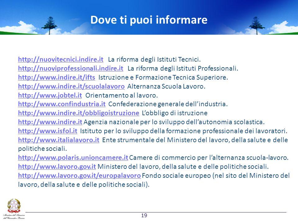 Dove ti puoi informare http://nuovitecnici.indire.it La riforma degli Istituti Tecnici.
