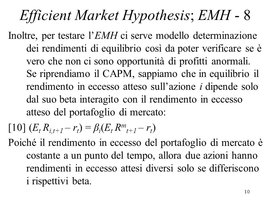 Efficient Market Hypothesis; EMH - 8