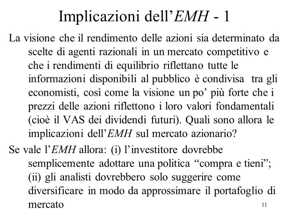 Implicazioni dell'EMH - 1