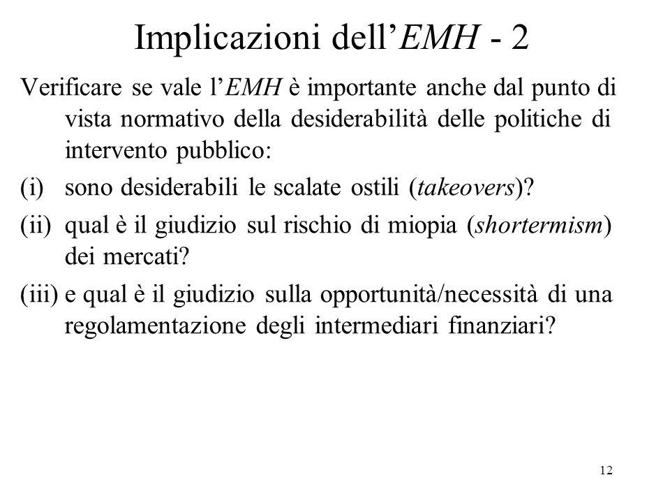 Implicazioni dell'EMH - 2