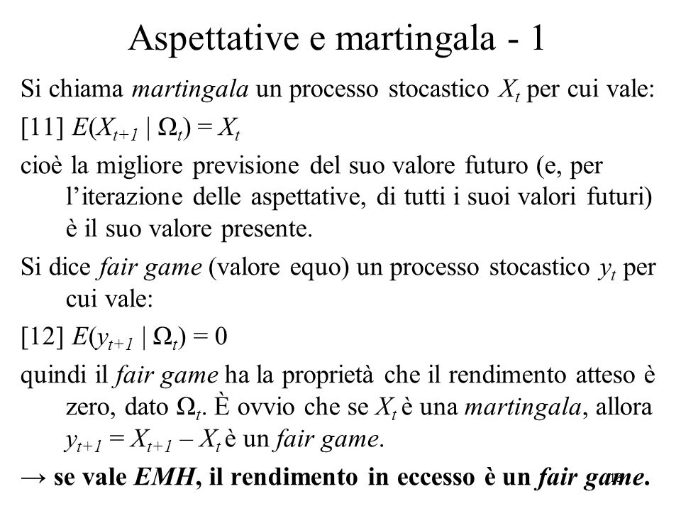 Aspettative e martingala - 1