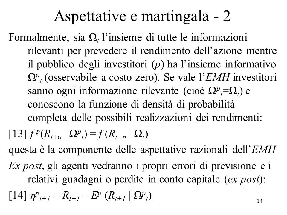 Aspettative e martingala - 2