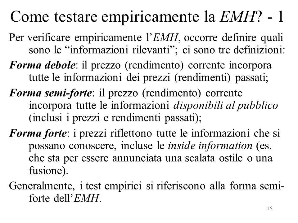 Come testare empiricamente la EMH - 1