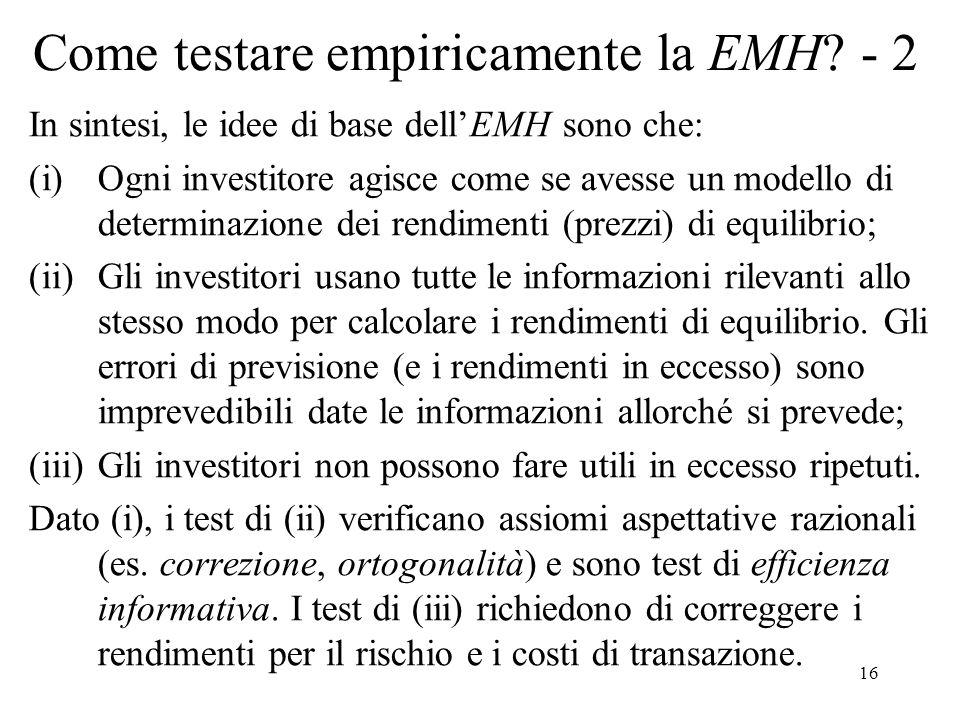 Come testare empiricamente la EMH - 2
