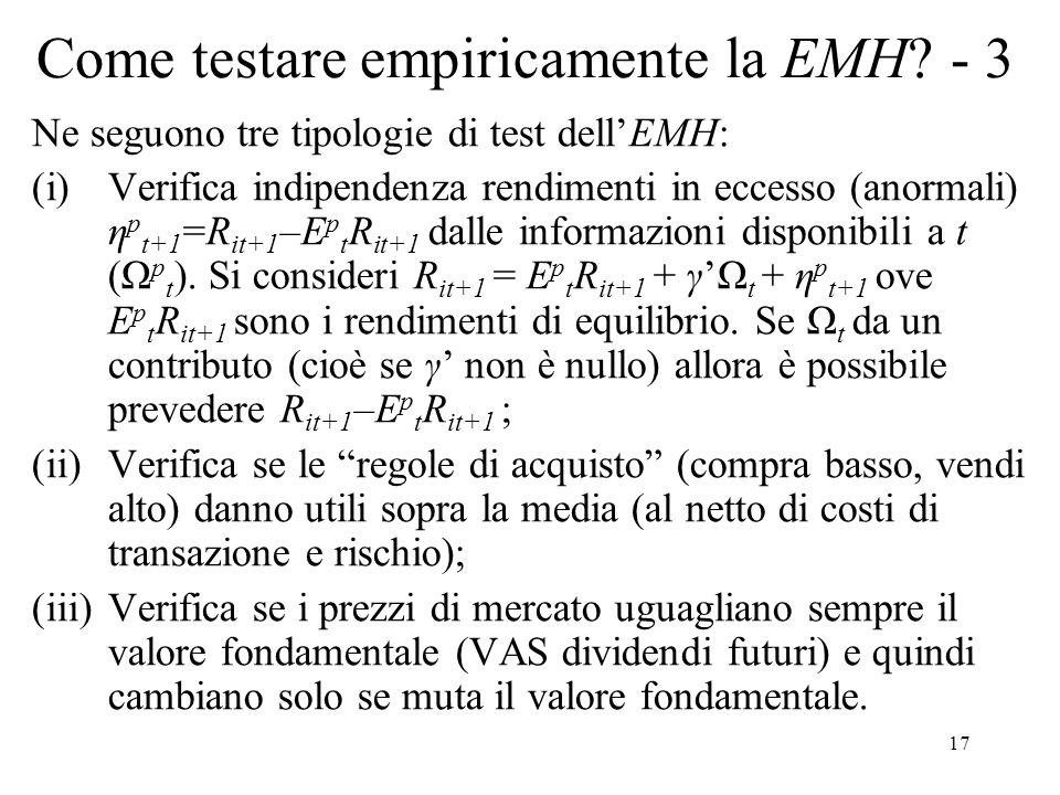 Come testare empiricamente la EMH - 3