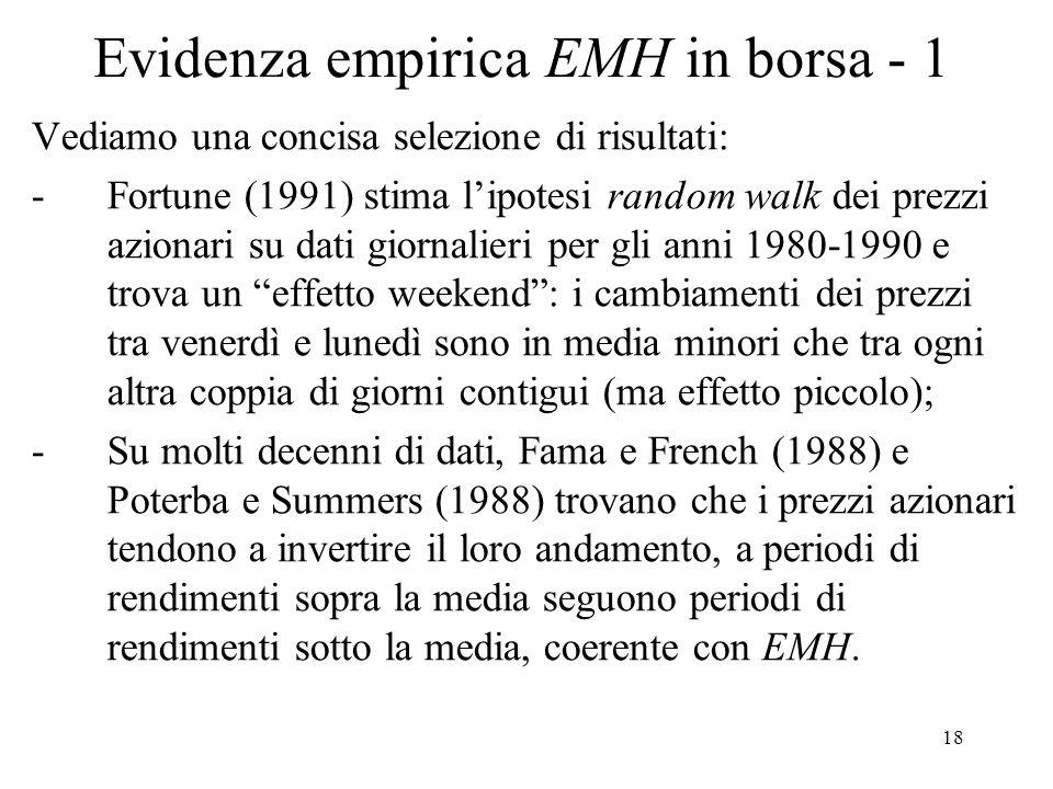 Evidenza empirica EMH in borsa - 1