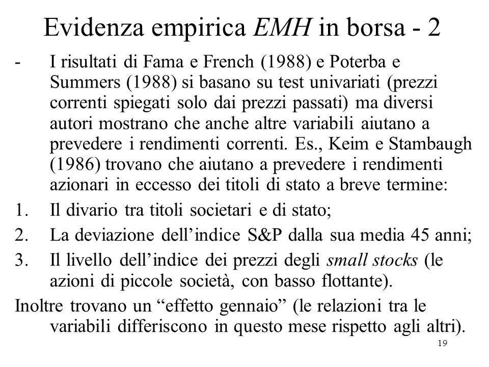 Evidenza empirica EMH in borsa - 2