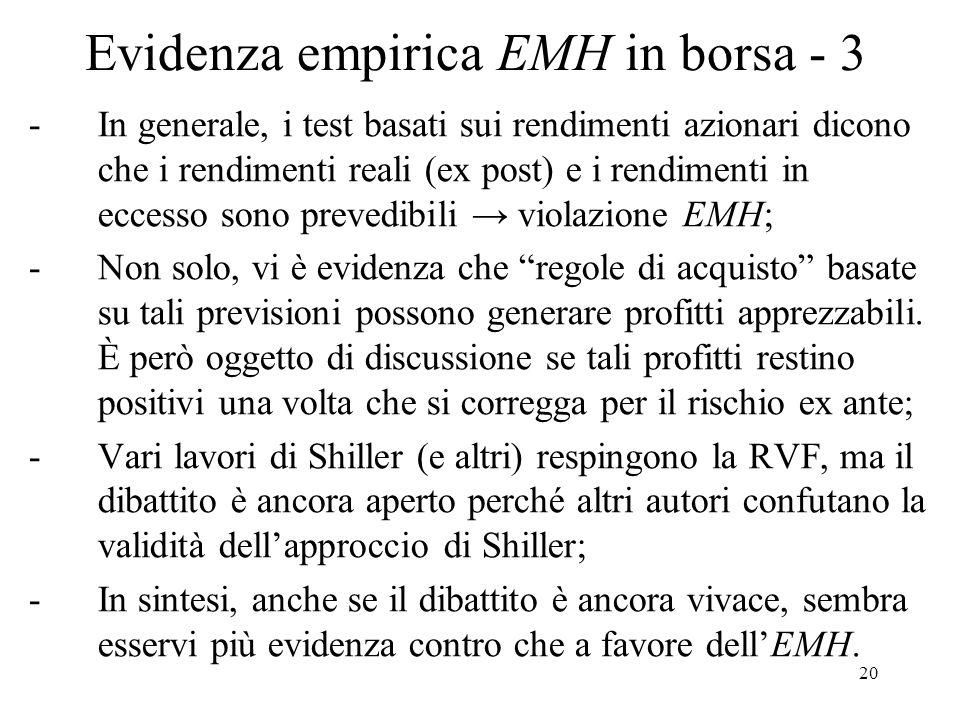 Evidenza empirica EMH in borsa - 3