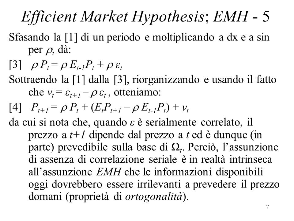 Efficient Market Hypothesis; EMH - 5