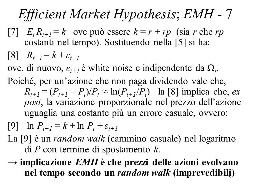 Efficient Market Hypothesis; EMH - 7