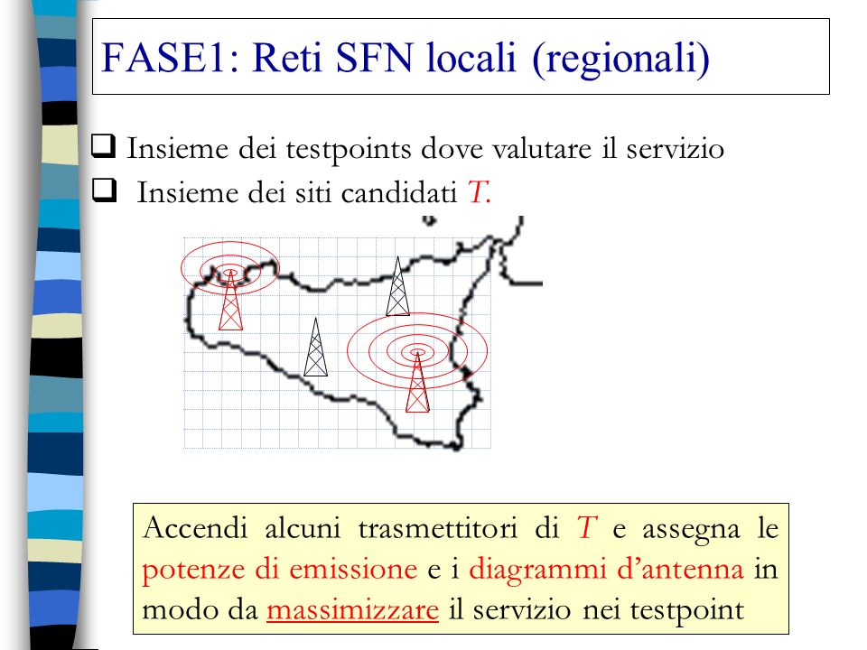FASE1: Reti SFN locali (regionali)