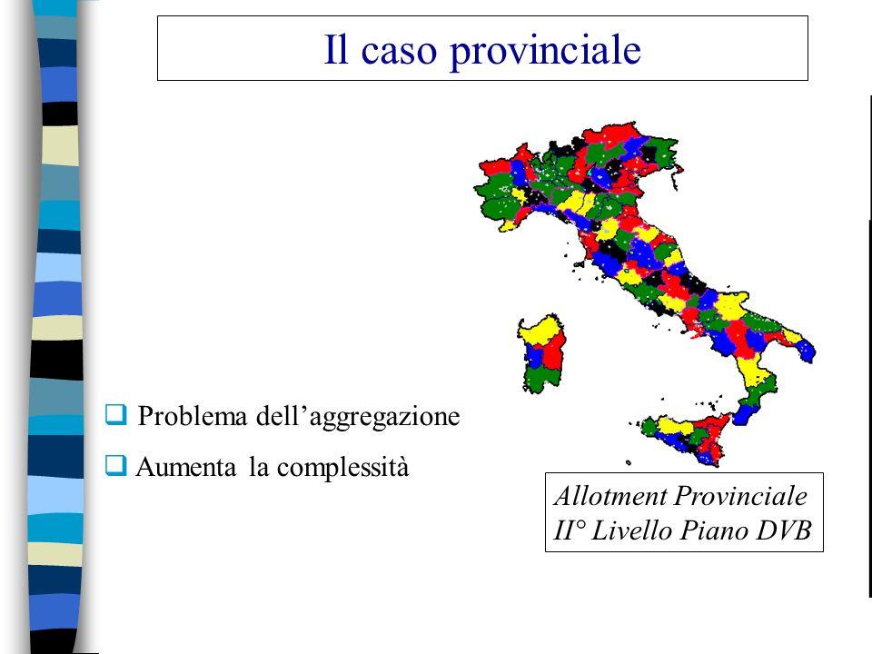 Il caso provinciale Problema dell'aggregazione Aumenta la complessità