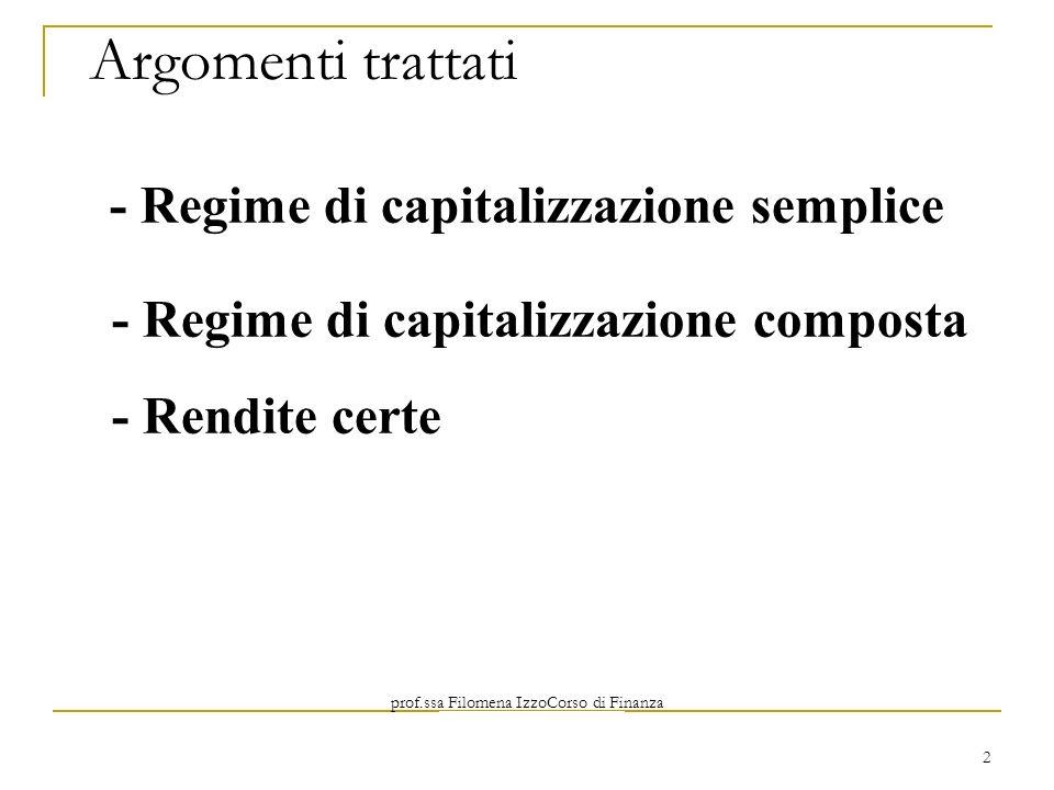 Argomenti trattati - Regime di capitalizzazione semplice