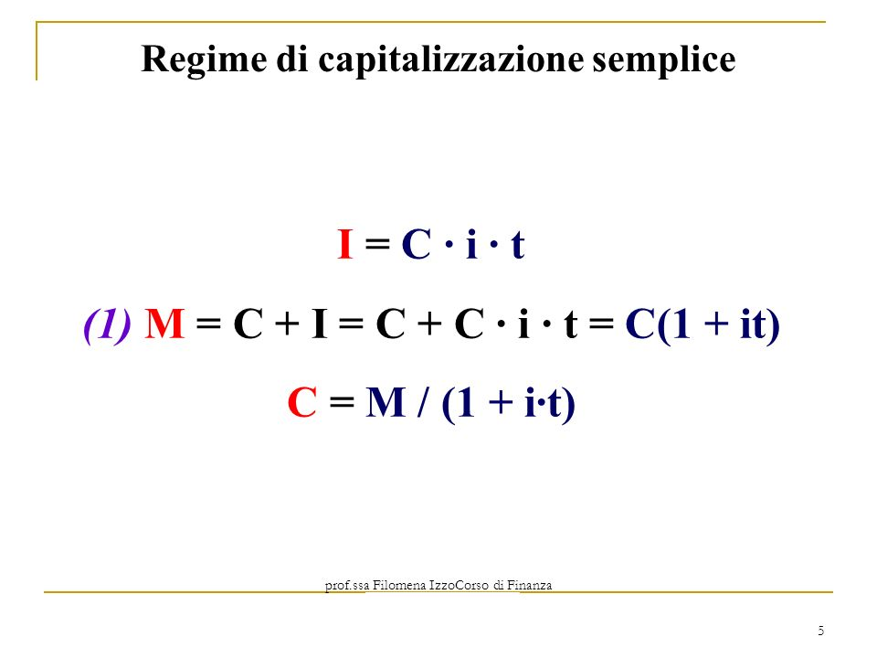 (1) M = C + I = C + C ∙ i ∙ t = C(1 + it)