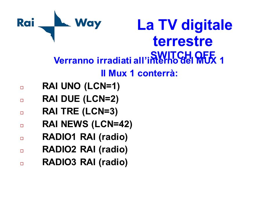 La TV digitale terrestre SWITCH OFF