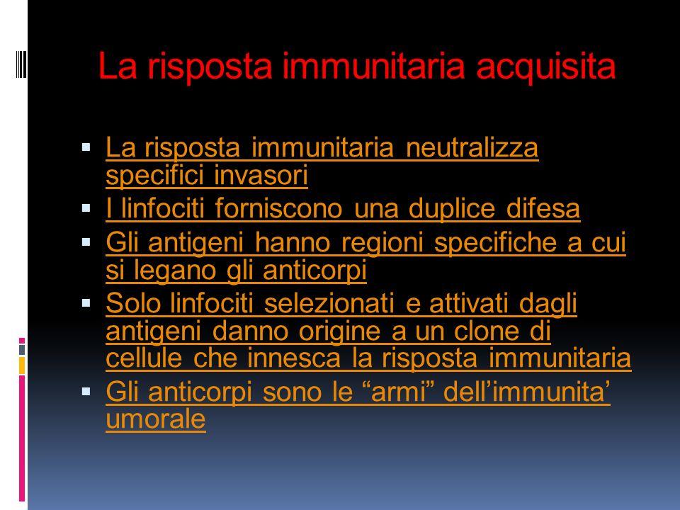 La risposta immunitaria acquisita