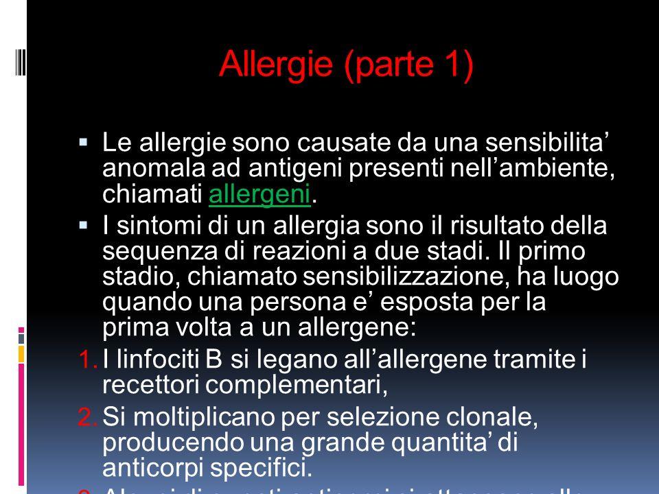 Allergie (parte 1) Le allergie sono causate da una sensibilita' anomala ad antigeni presenti nell'ambiente, chiamati allergeni.